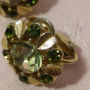 Vintage Avon Gold tone Green Rhinestone Earrings